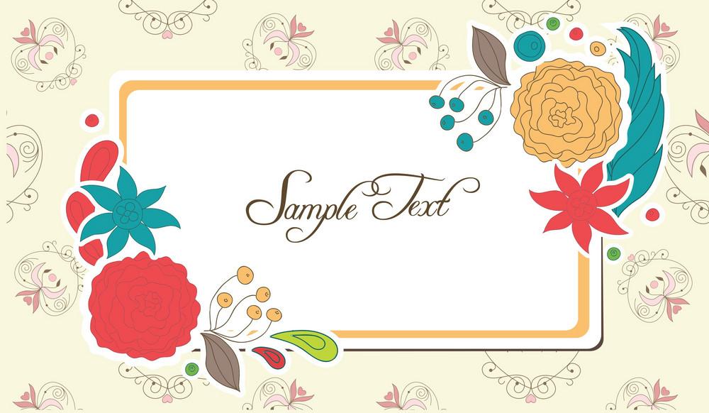 Frame With Floral Vector Illustration