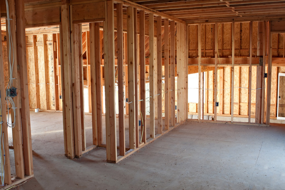 Framed building or residential home with basic electrical wiring and