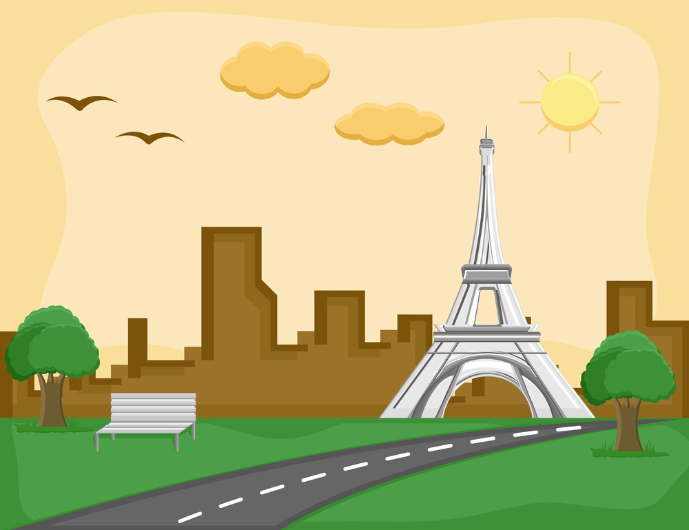France - Eiffel Tower - Cartoon Background Vector