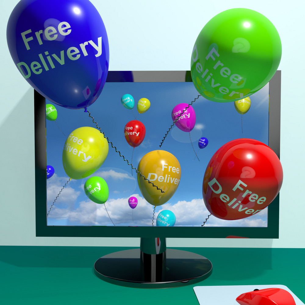 Free Delivery Balloons From Computer Showing No Charge Or Gratis To Deliver