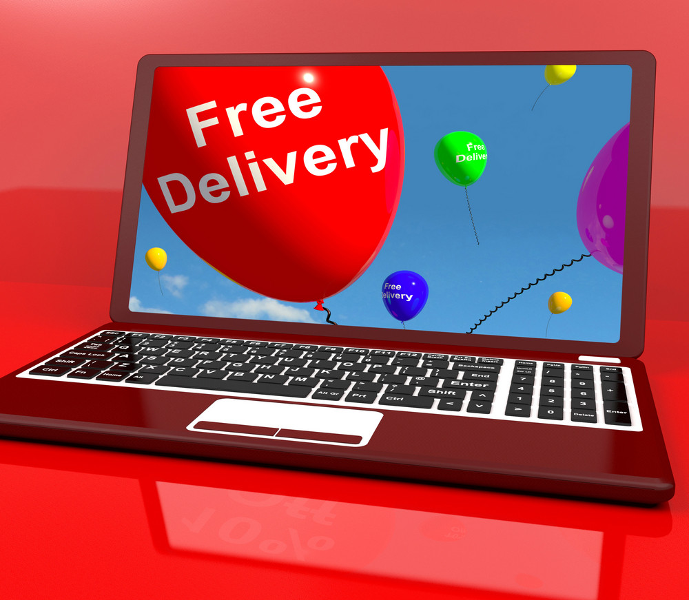 Free Delivery Balloons On Computer Showing No Charge Or Gratis To Deliver