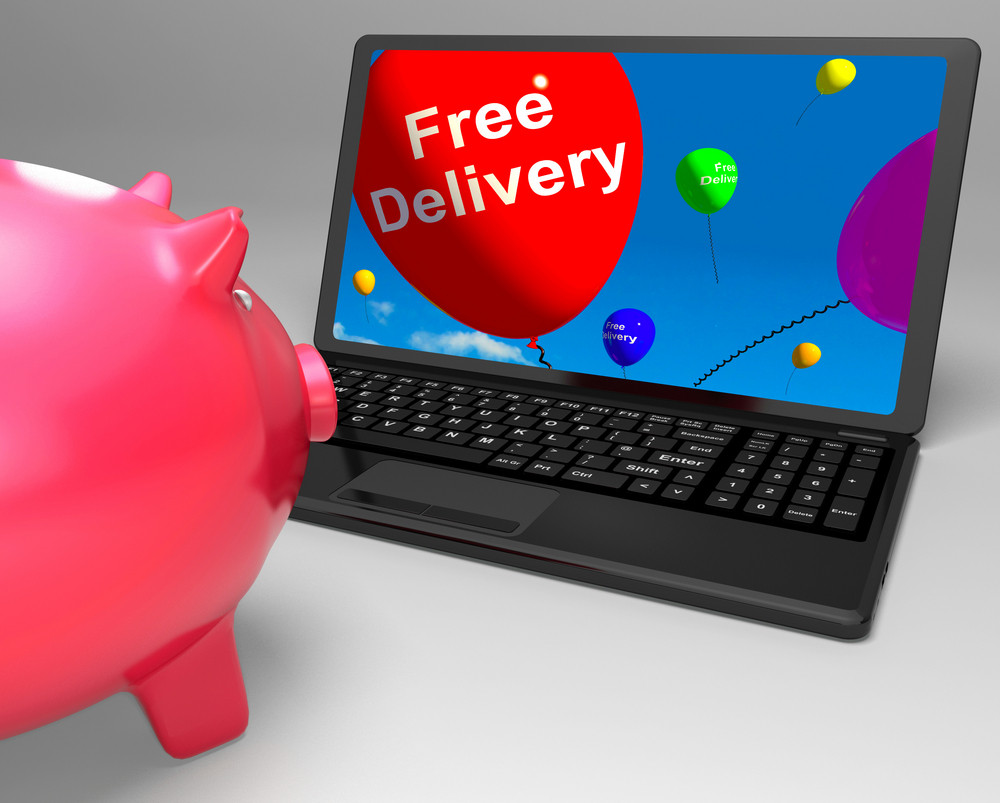 Free Delivery On Laptop Showing Free Shipping