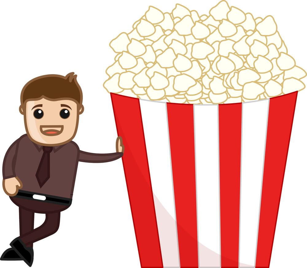 Free Popcorns - Cartoon Business Vector Character