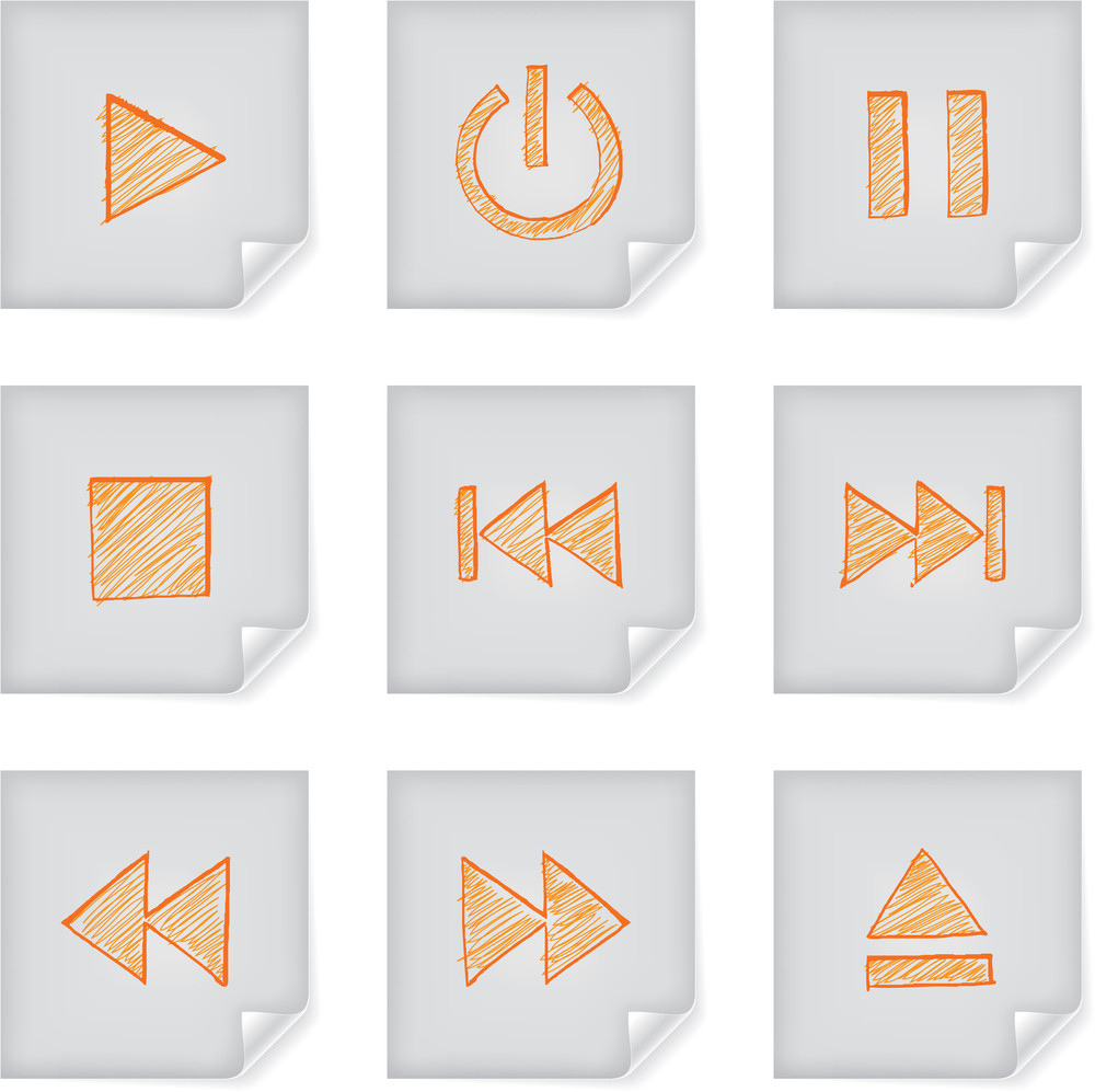 Freestyle Hand-drawn Icons On Post-it Note For Multimedia Interface.