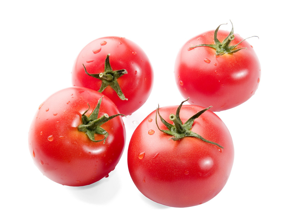 Fresh Tomato With Water Drops Isolated On White