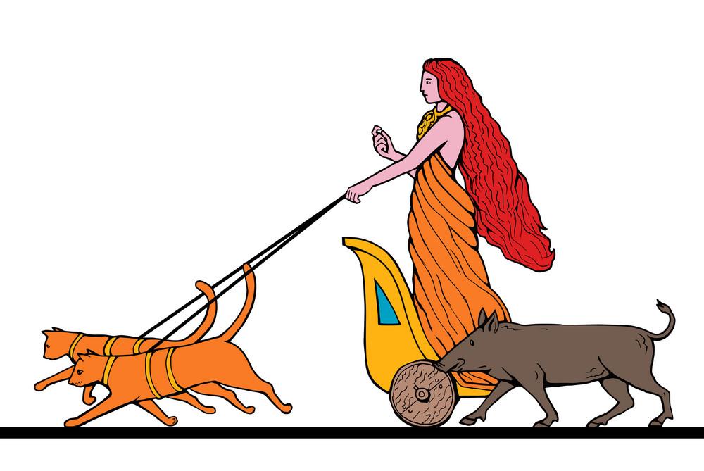 Freya Norse Goddess Riding Chariot Cat Boar