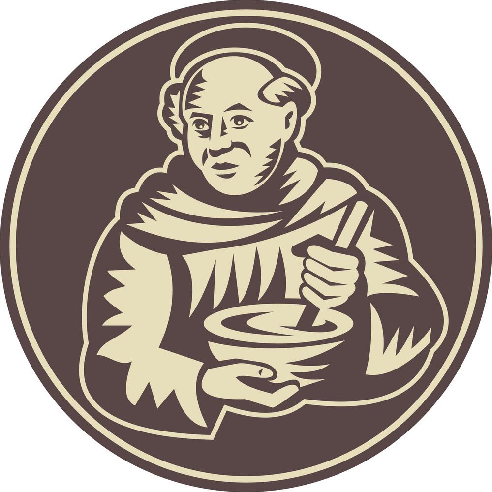 Friar Monk Cook Mixing Bowl Woodcut