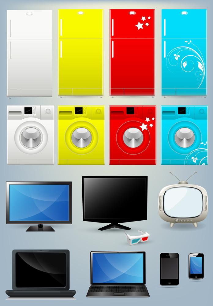 Fridge, Washing Machine, Tv, Laptop And Mobile Vectors