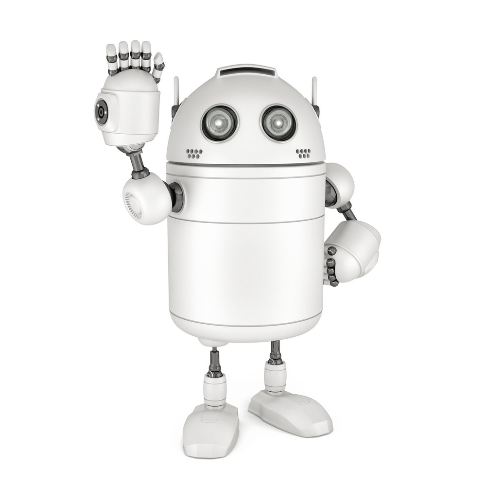 Friendly Robot Waving Hello