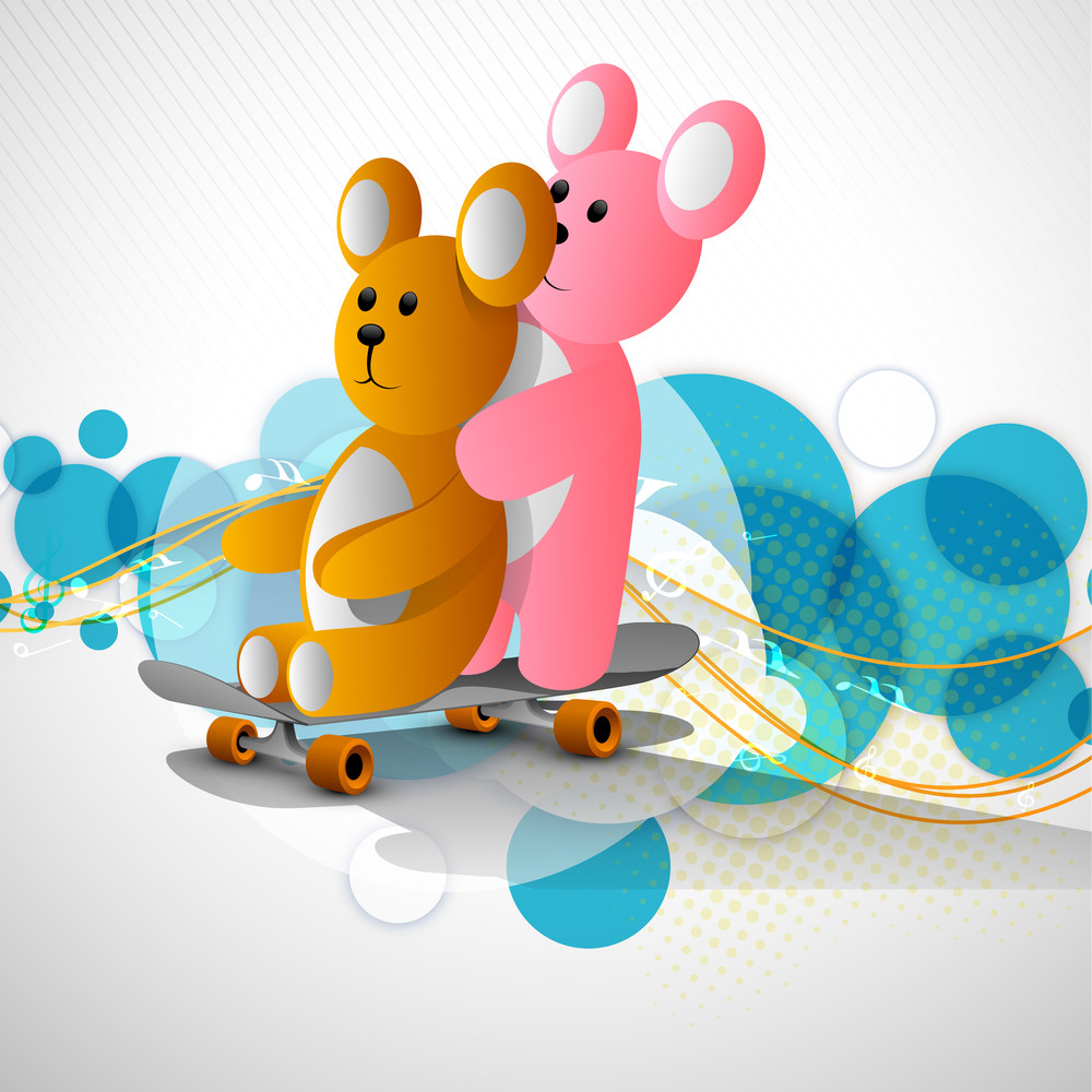 Friendship Concept With Two Teddy Bear On Skate Board