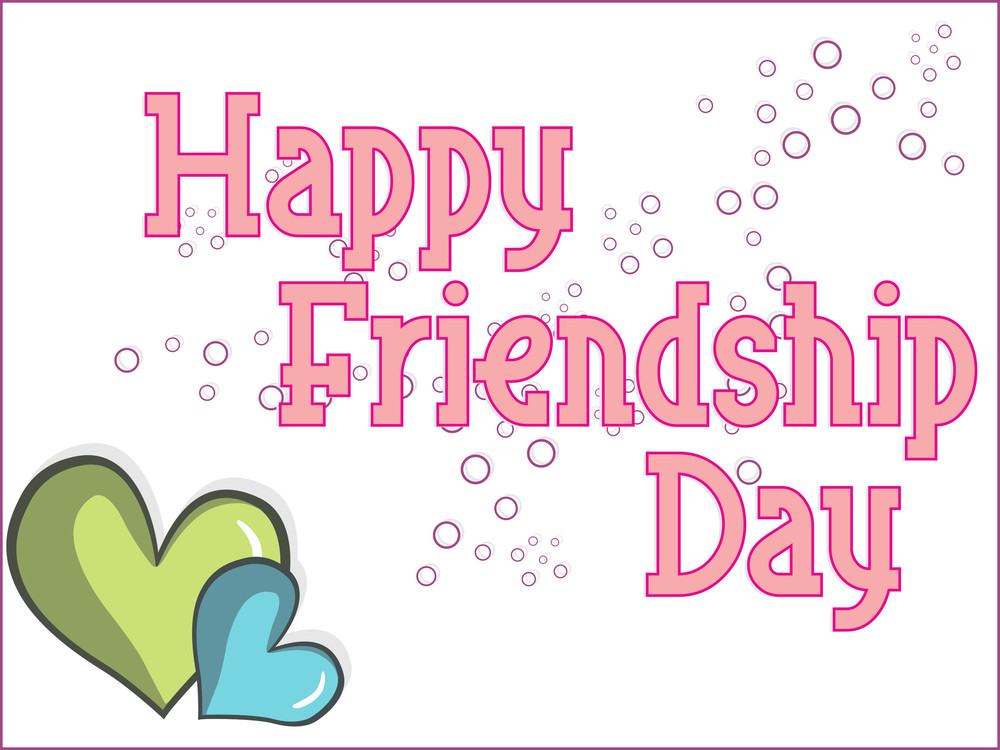 Friendship Day Background With Set Of Heart