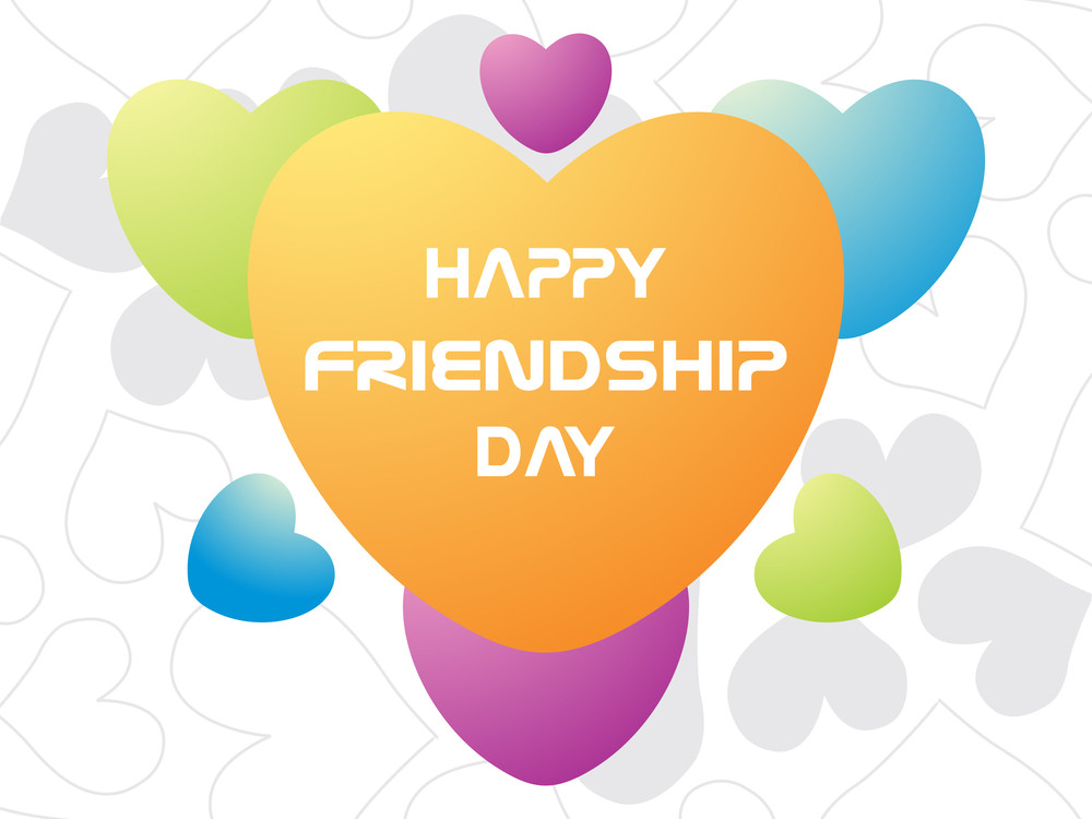 Friendship Day Card With Colorful Heart