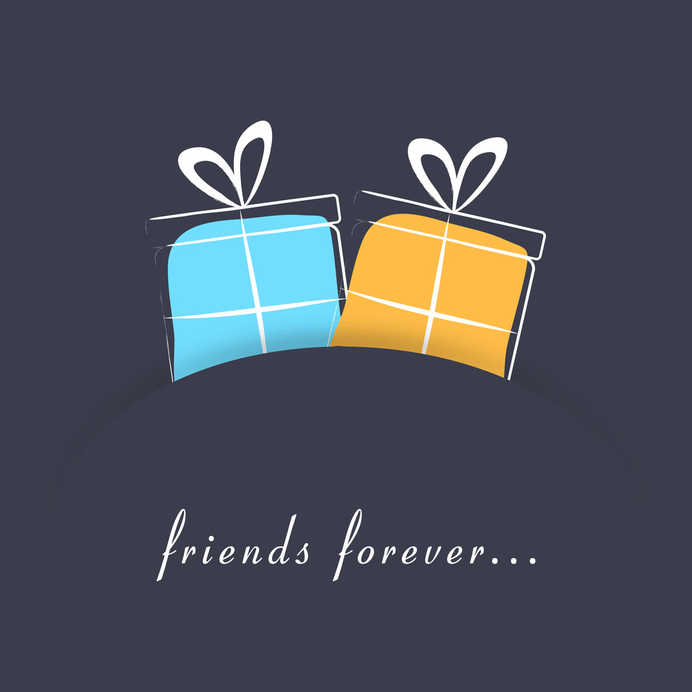 Friendship Day Concept With Gift Boxes And Text Friends Forever On Grey Background
