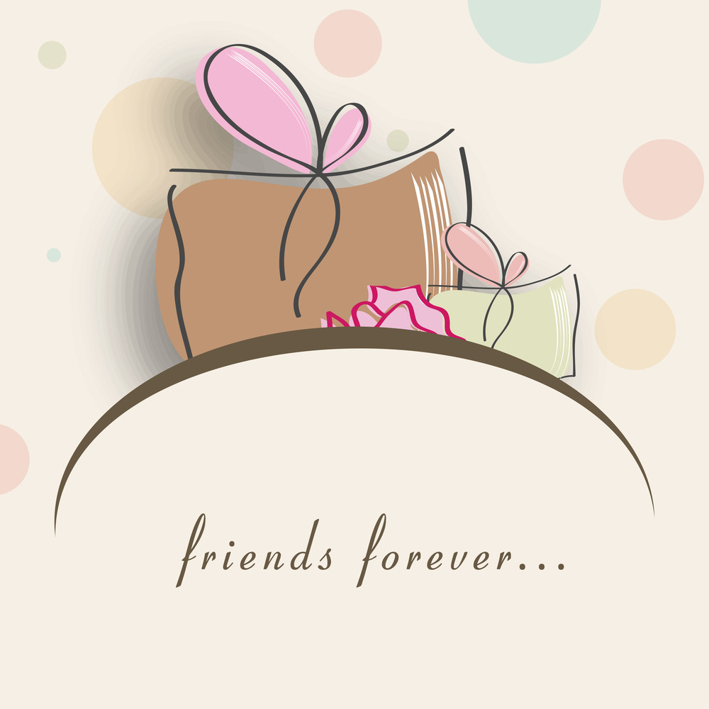 Friendship Day Concept With Gift Boxes And Text Friends Forever
