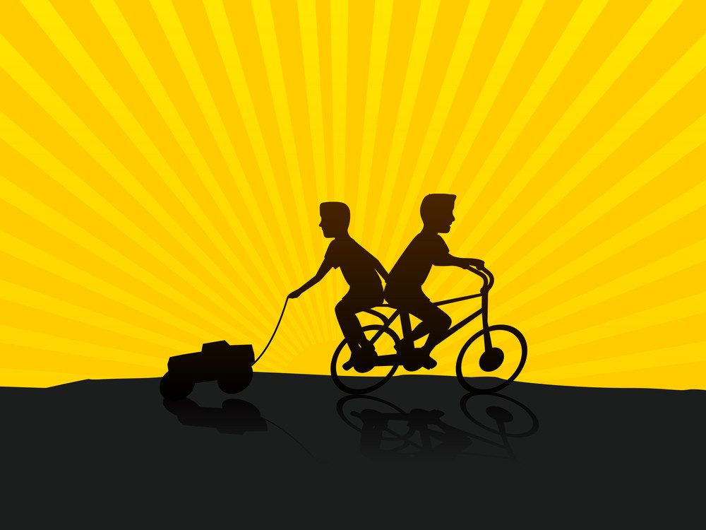 Friendship Day Concept With Silhouette Of Two Friends On Beautiful Yellow Background