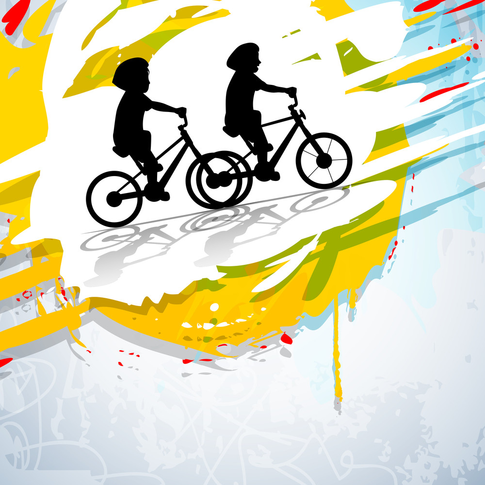 Friendship Day Concept With Silhouette Of Two Friends Riding Cycle On Grungy Background