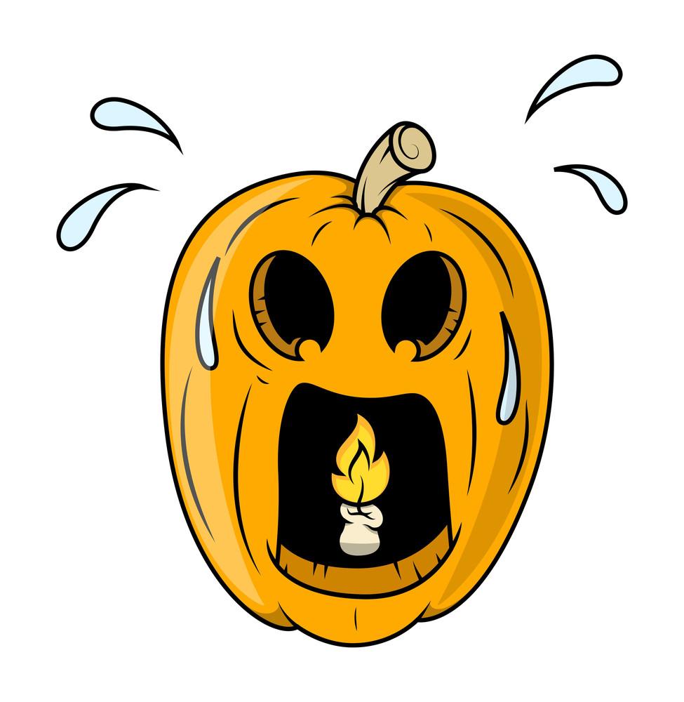 Frightened Jack O' Lantern With Burning Candle Inside - Halloween Vector Illustration