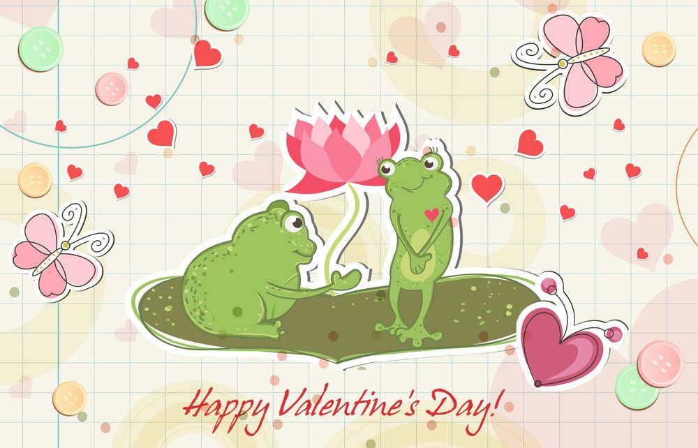 Frogs In Love Vector Illustration