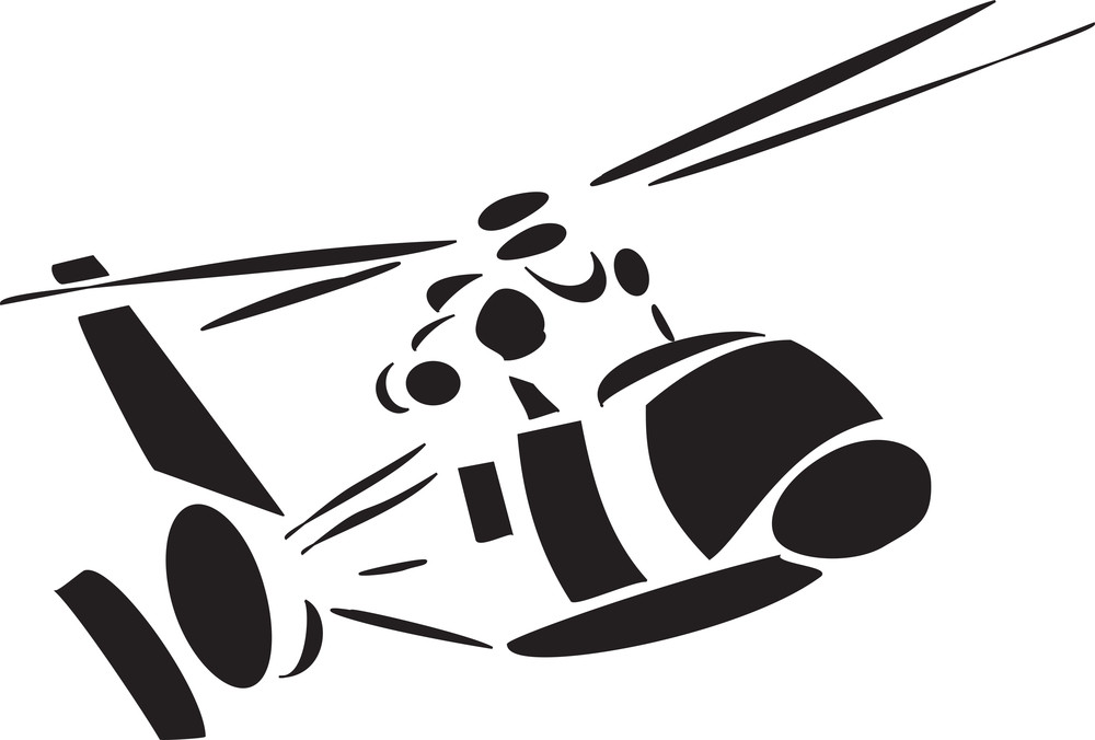 Front View Of A Flying Helicopter.