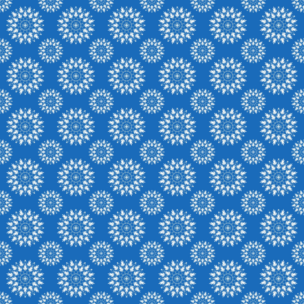 White Snowflake Pattern On Blue Frozen Inspired Paper