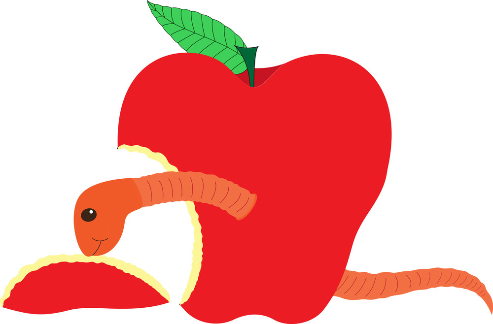 Fruit Worm Eating Apple