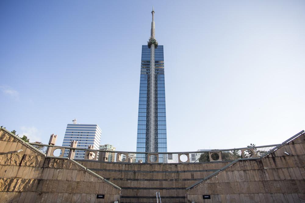 Fukuoka Tower on blue sky background