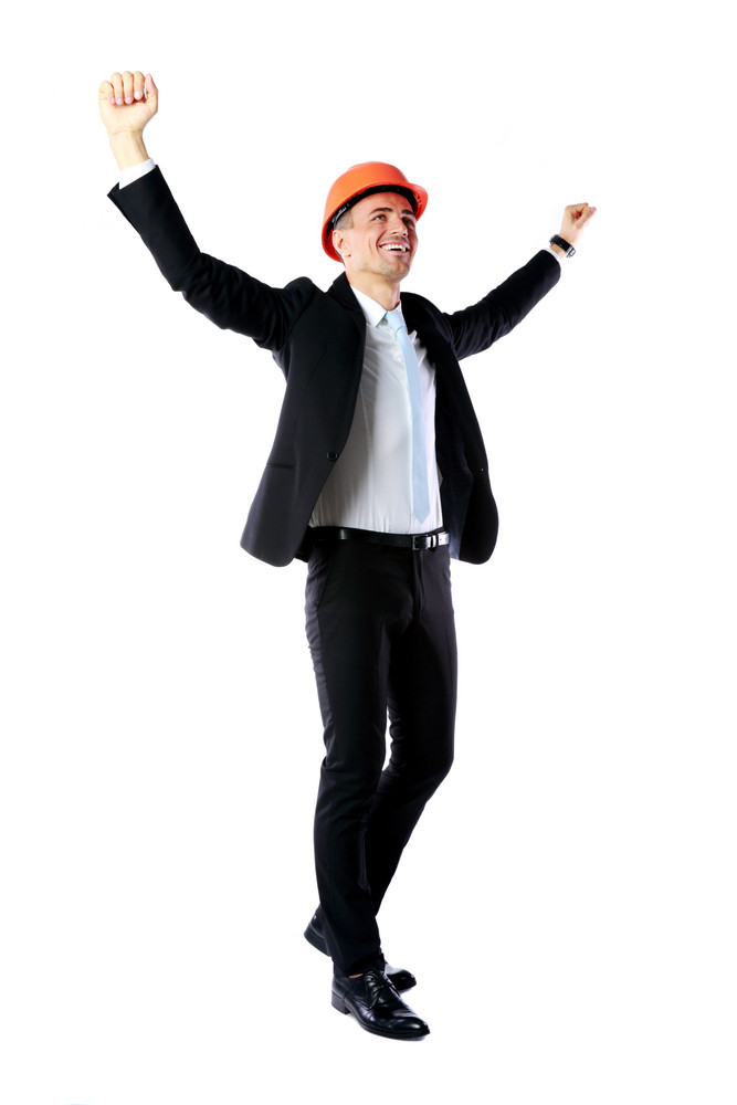 Full-length portrait of a cheerful businessman with hands raised over white background