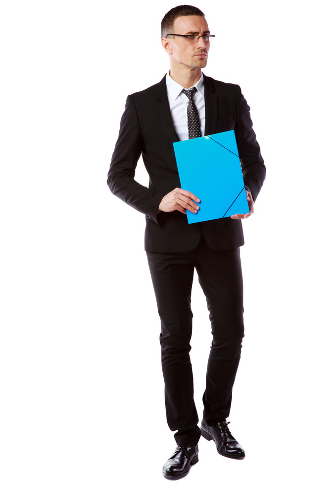 Full length portrait of a handsome businessman in glasses over white background