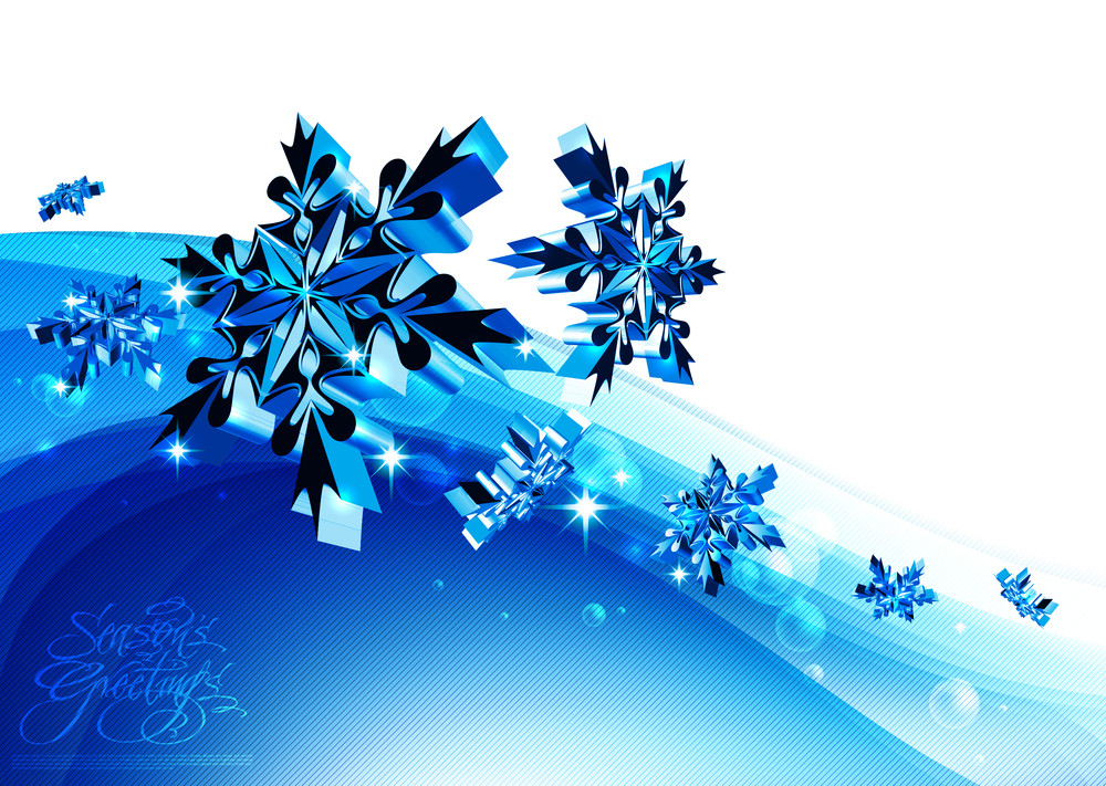 Funky Christmas Blue Snowflakes Element