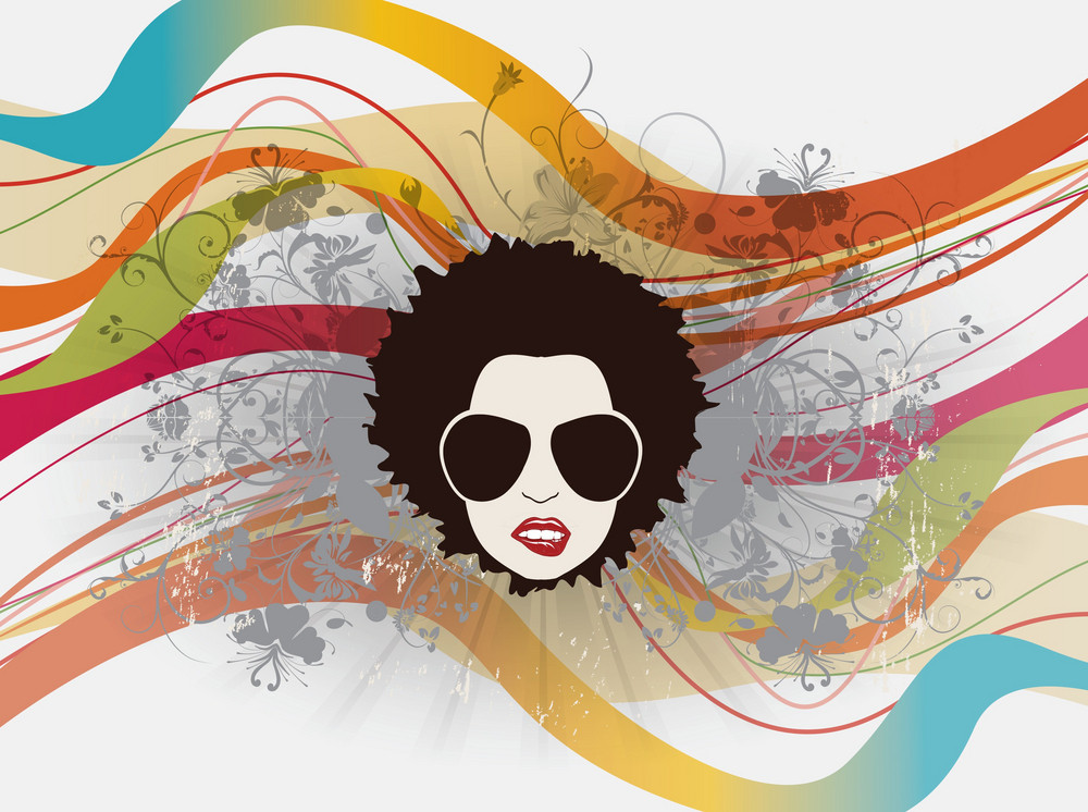 Funky Face With Floral Vector Illustration