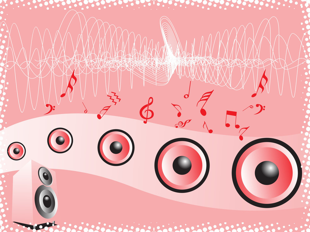 Funky Speaker On Disco Background