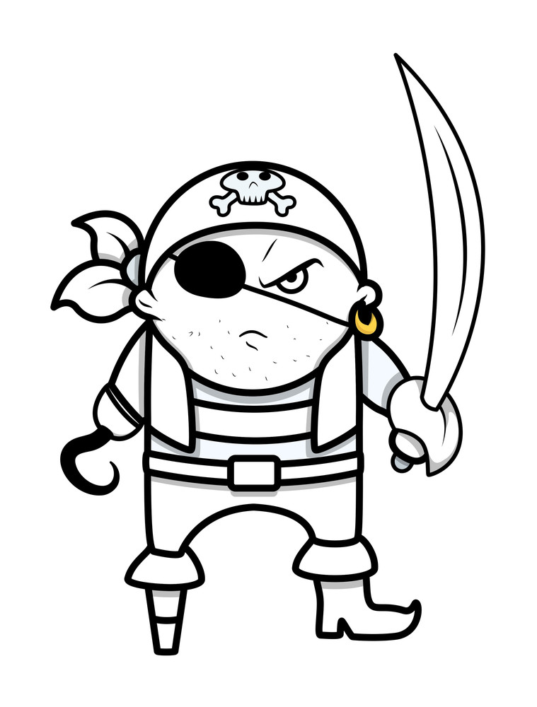 Funny Angry Cute Pirate Captain - Vector Cartoon Illustration