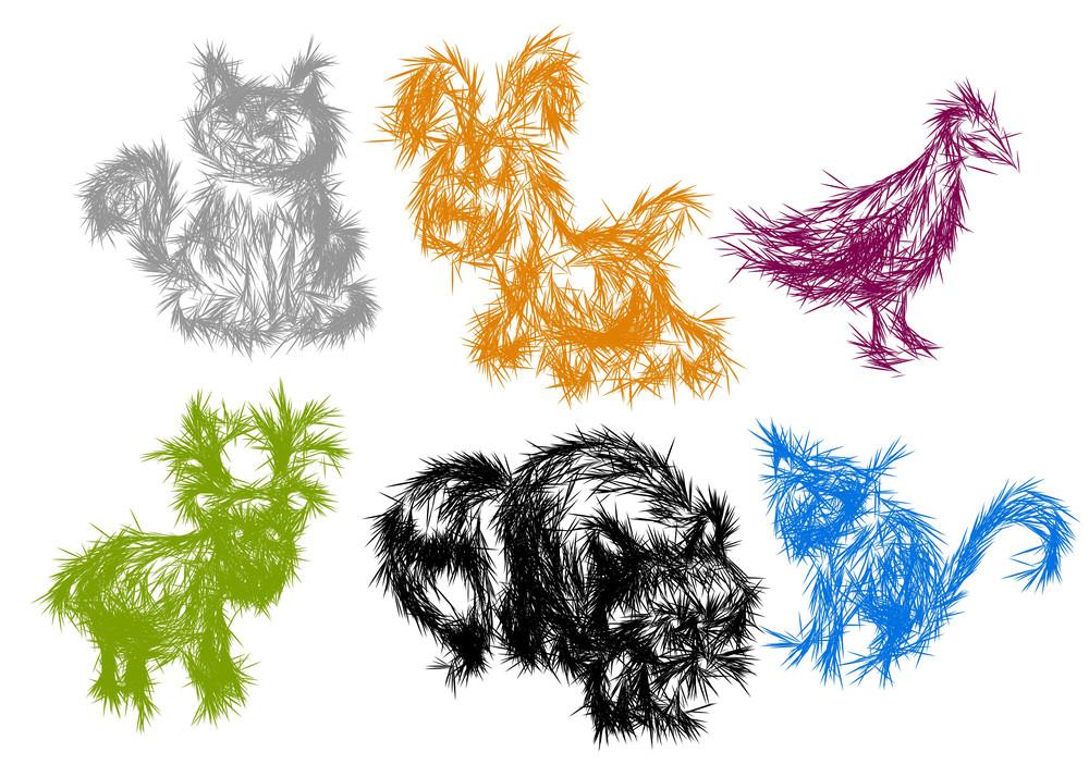 Funny Animals. Vector Sketch.