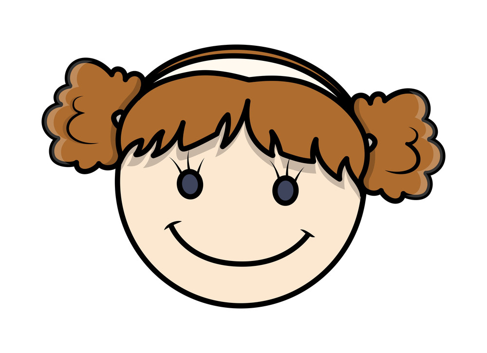 Funny Cartoon Kid Girl Happy Face