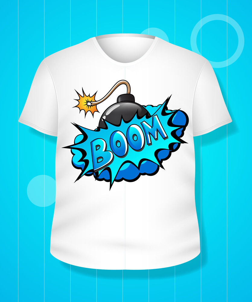 Funny Comical White T-shirt Design Vector Illustration Template