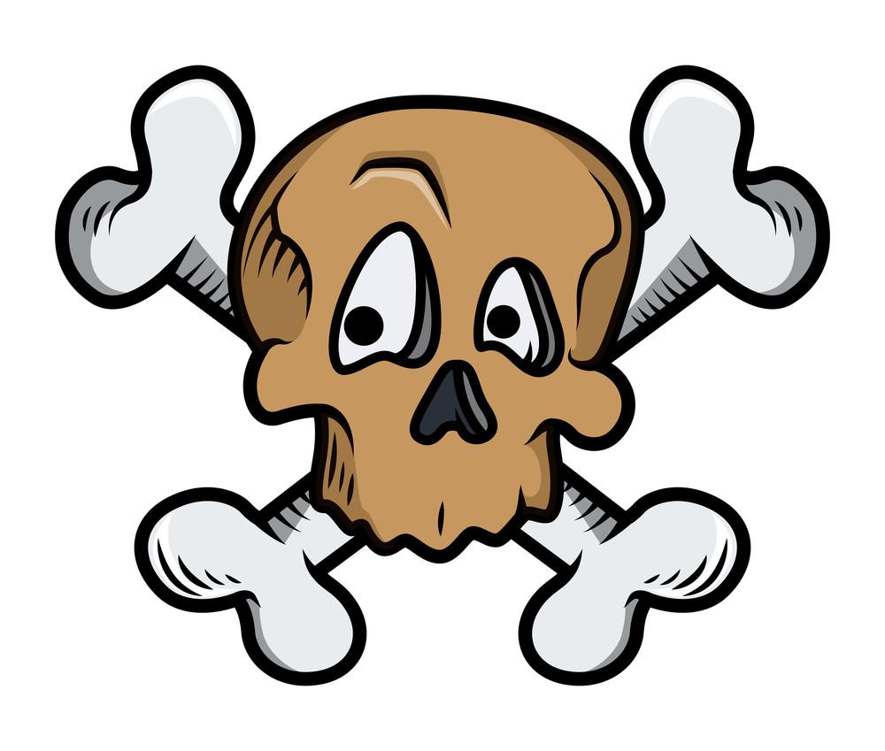 Funny Cute Crossed Skull Tattoo Vector Illustration