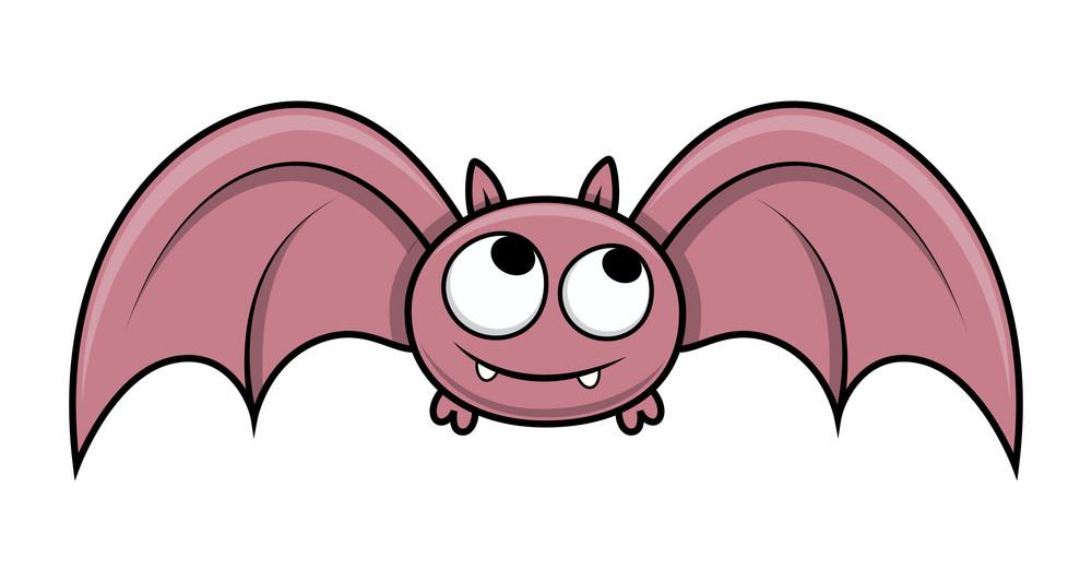 Funny Cute Small Bat - Halloween Vector Illustration