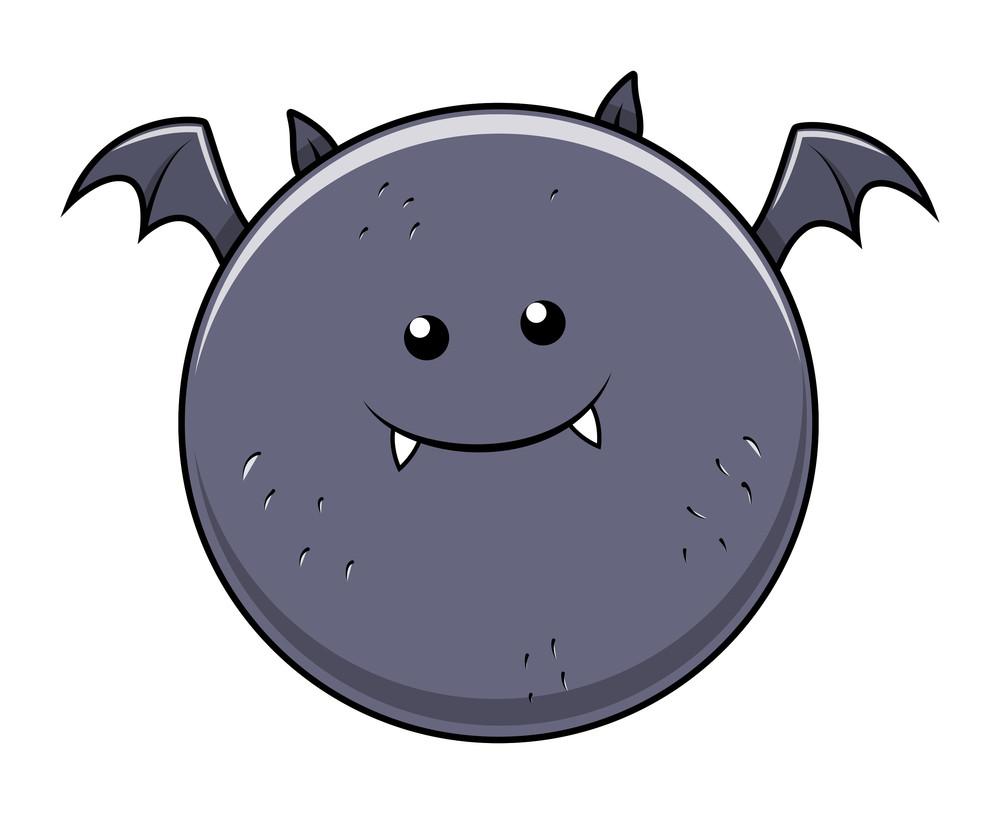 Funny Fat Bat - Halloween Vector Illustration