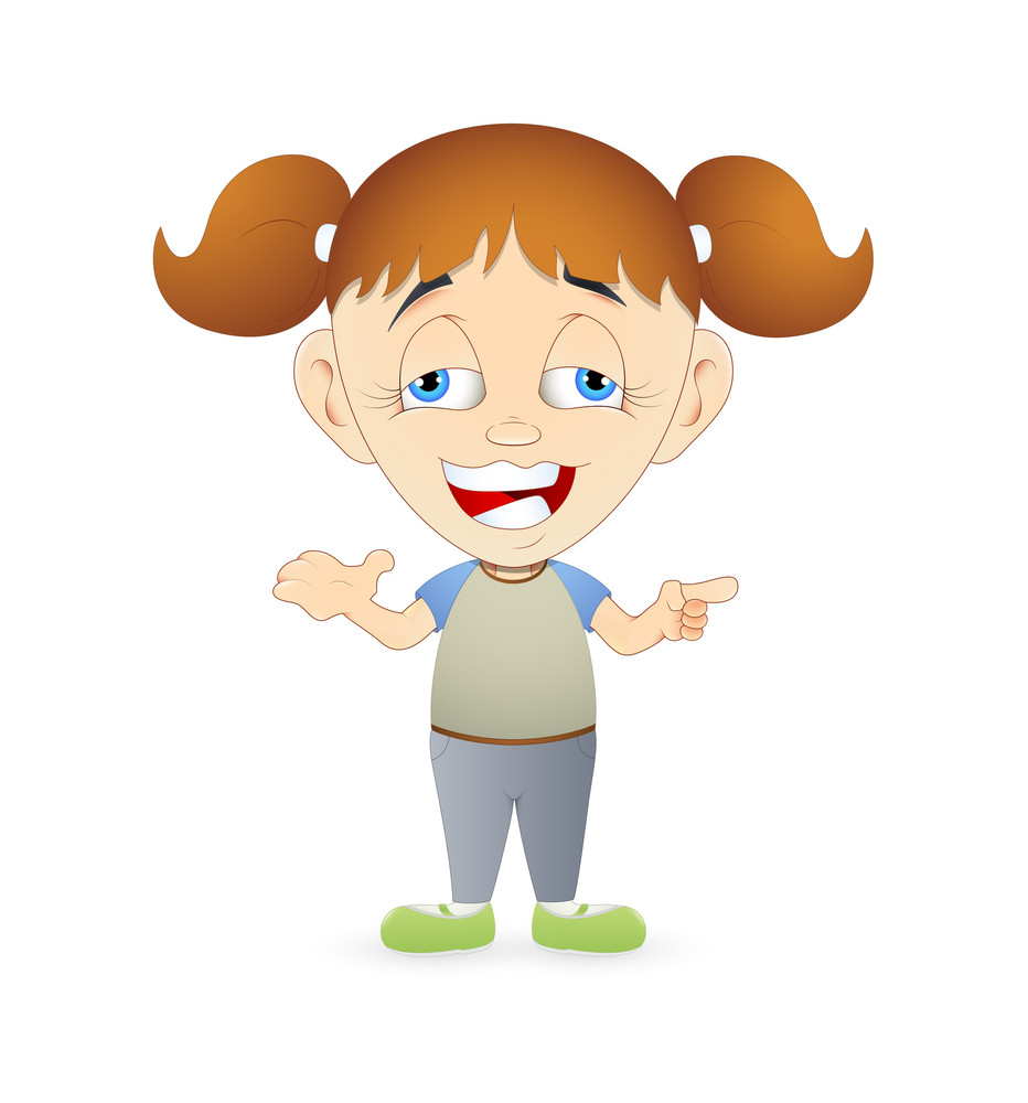 Funny Laughing Cartoon Girl