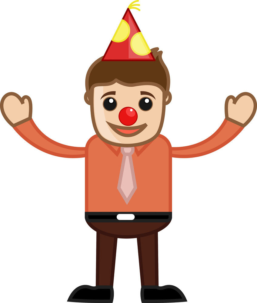 Funny Nose Man In Party - Cartoon Business Character