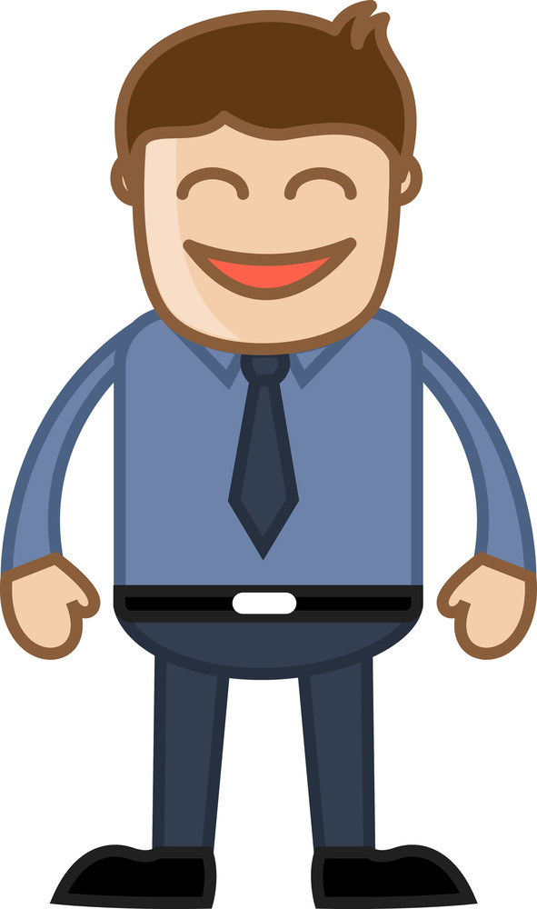 Funny Office Man - Business Cartoon Character Vector