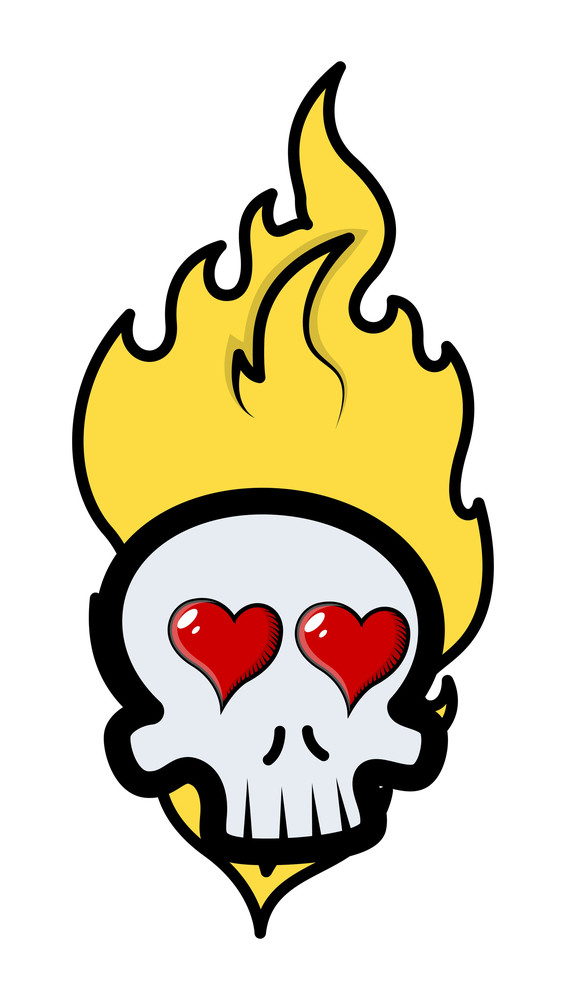 Funny Romantic Skull Tattoo With Flames And Hearts - Vector Cartoon Illustration