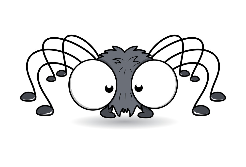 Funny Spider With Big Eyes - Halloween Vector Illustration
