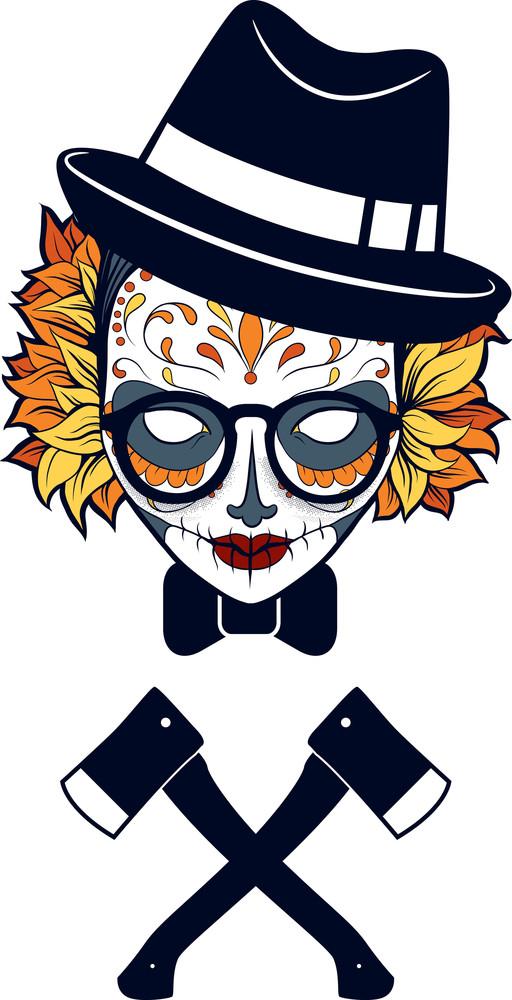 Funny Sugar Skull Vector T-shirt Design