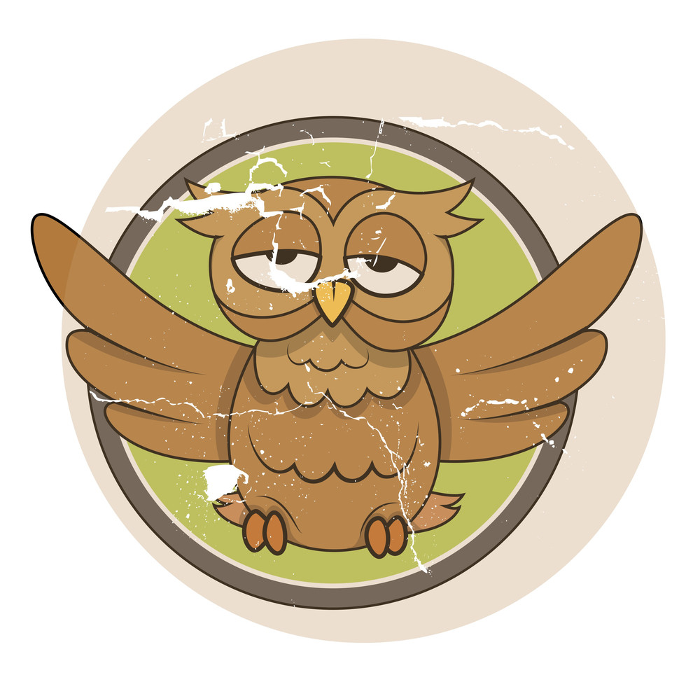 Funny Vintage Owl - Halloween Vector Illustration