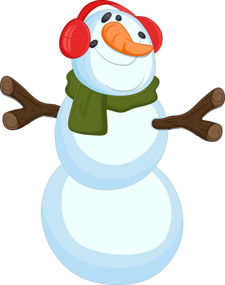 Funy Snowman - Christmas Vector Illustration
