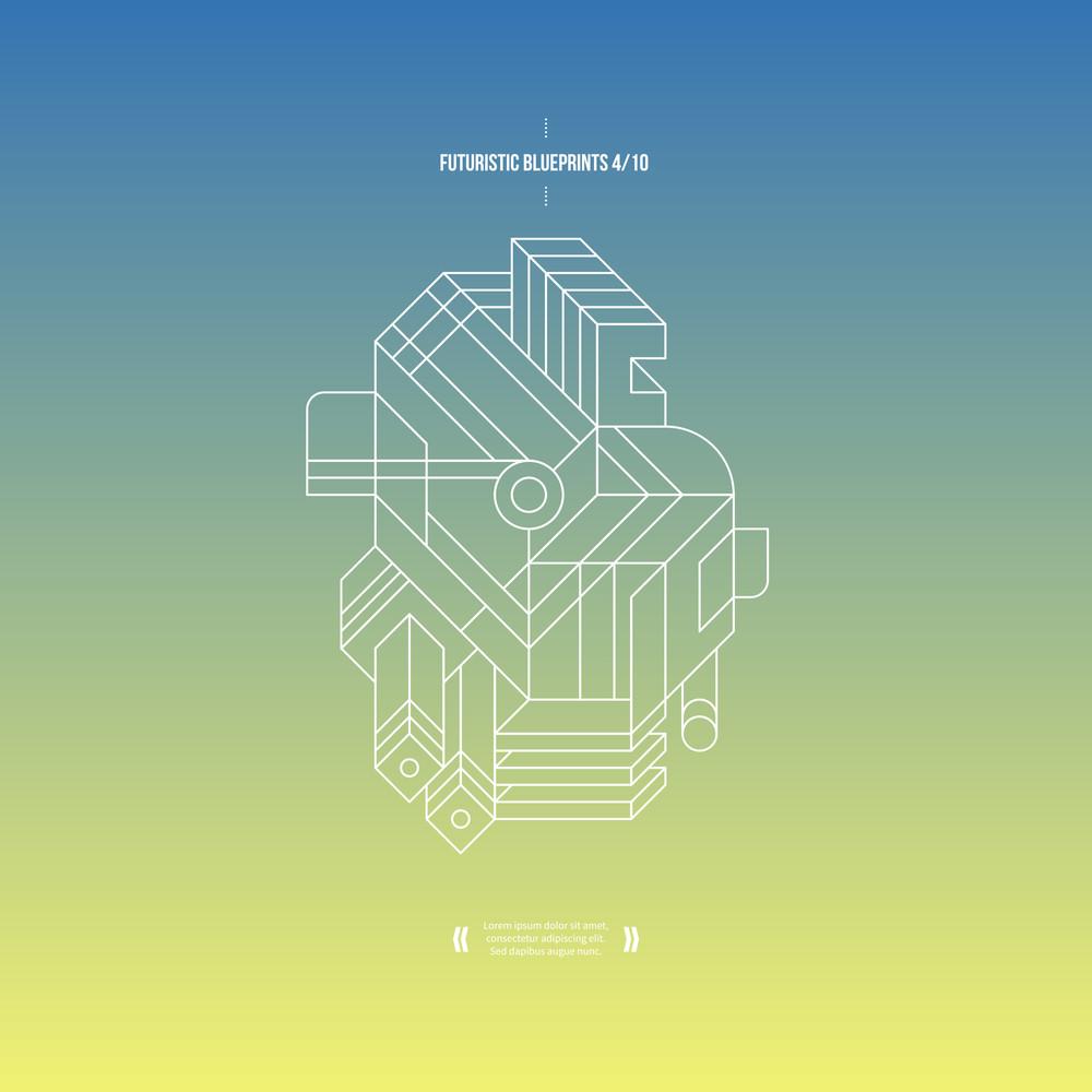 Futuristic Blueprint On Gradient Background. 4 Of 10. Eps10.