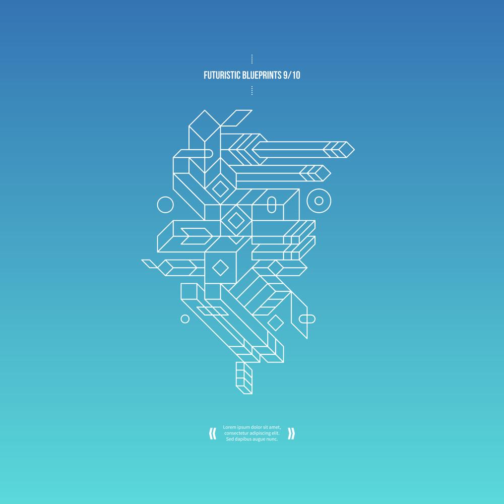 Futuristic Blueprint On Gradient Background. 9 Of 10. Eps10.