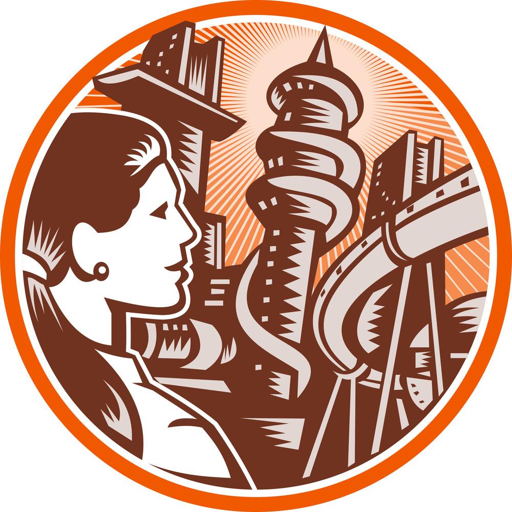 Futuristic City Woman Side Circle Woodcut