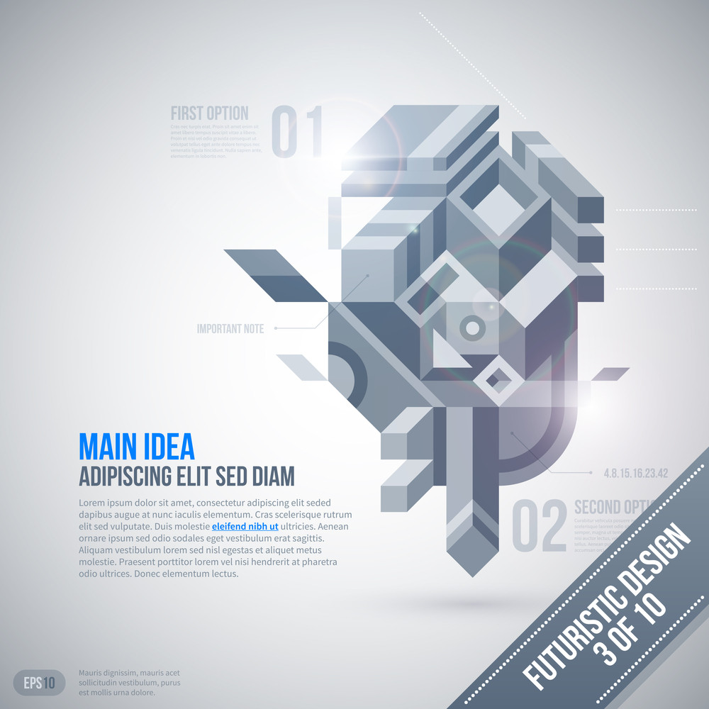 Futuristic Design Template With Geometric Element. 3 Of 10. Eps10.